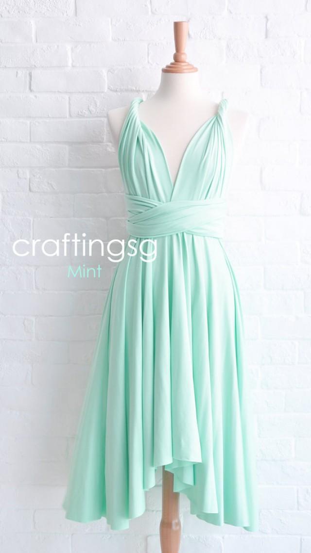 Bridesmaid dress infinity dress mint knee length wrap for Mint bridesmaid dresses wedding