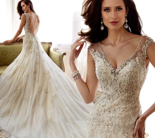 Wedding dress luxury v neck sequins beading see through for Wedding dress with see through back