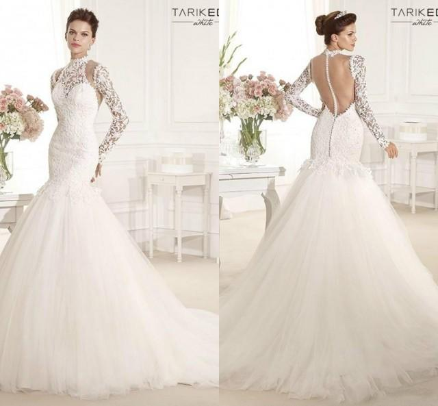 Tarik ediz mermaid wedding dresses 2015 sexy high collar for High collared wedding dress