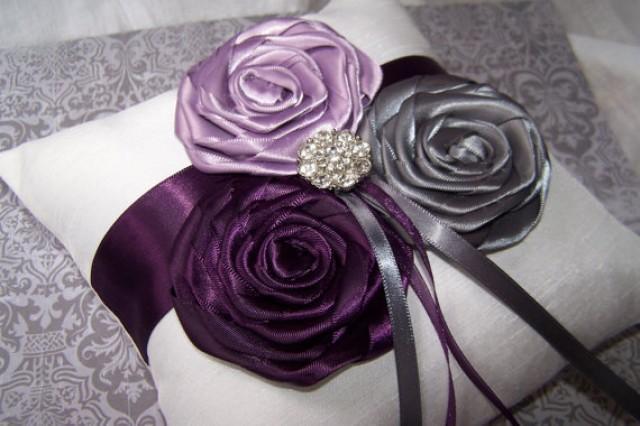 Ring Bearer Pillow White Or Ivory Dark Plum Lilac