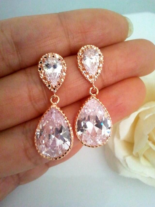 Rose gold earring wedding earrings bridesmaid gift