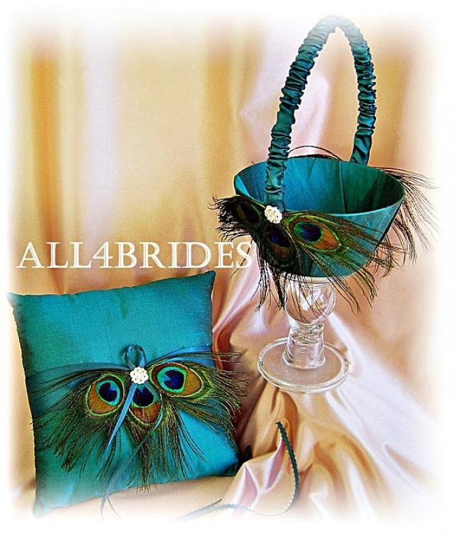 Flower Girl Baskets Peacock : Peacock wedding teal ring pillow and flower girl basket