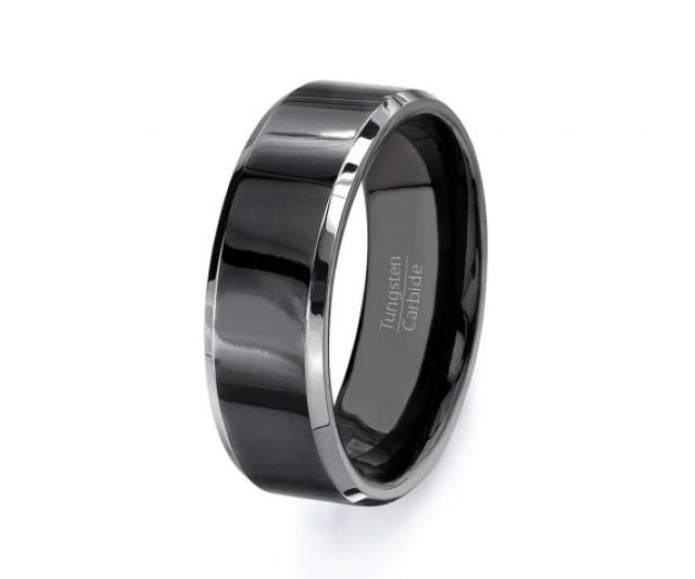 mens-wedding-band-black-tungsten-ring-high-quality-mens-tungsten ...