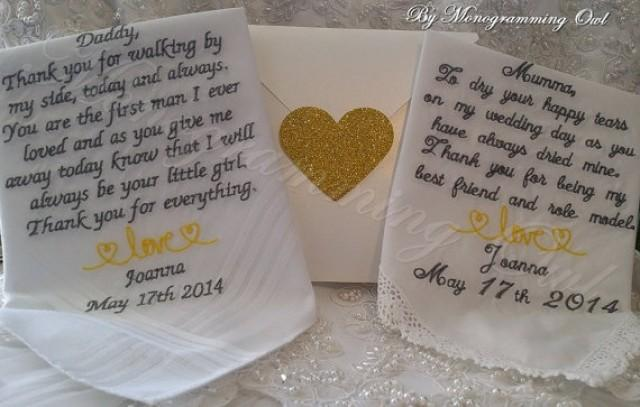 Wedding Gift For Mum And Dad : Dad Personalized Wedding Handkerchief. Gift For The Mother And Father ...