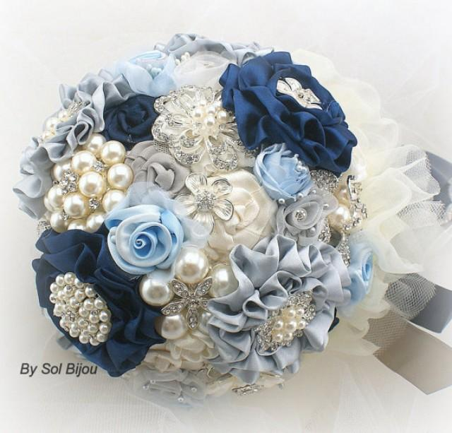 Brooch Bouquet Wedding In Navy Blue Ivory Cream Silver And Powder Light Something 2296094 Weddbook