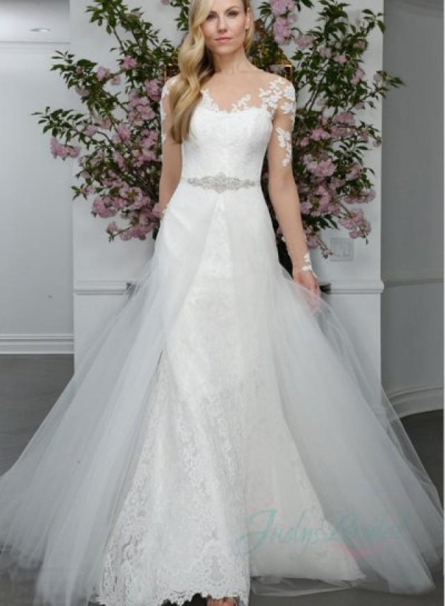 JW16010 Sheer Top Long Sleeves Lace Trumpet Wedding Dress #2296267 ...