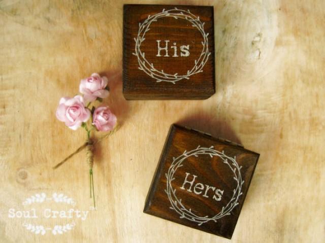 His Hers Wedding Gift Ideas : His Hers Chic Inspired Rustic Dark Wood Ring Bearer Box Rustic Wedding ...