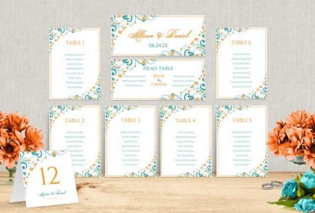 wedding seating chart template download instantly editable text chic bouquet tangerine. Black Bedroom Furniture Sets. Home Design Ideas
