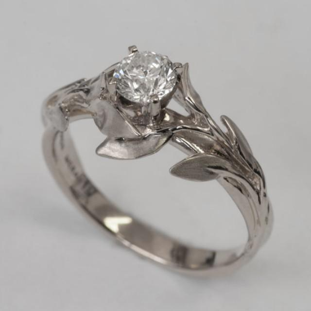 Leaves Engagement Ring No 4 14K White Gold And Diamond Engagement Ring En