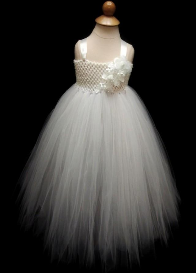 Flower Girl Dress- Girl Tutu- Tutu Dress- Newborn Tutu- White Tutu ...