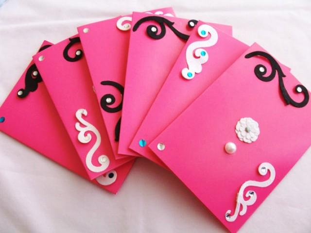 Set Of 6 Hot Pink Stationery Cards And Envelopes Hot Pink Cards – Party Invitation Envelopes