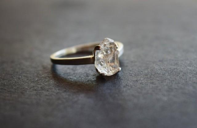 Raw Diamond Ring, Engagement Band, Uncut Diamond Ring, Raw