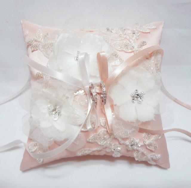 Wedding Ring Pillow Pink Satin Silk Ring Pillow Floral Ring Pillow Ring B