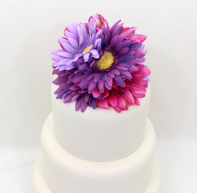Wedding cake topper fuchshia pink purple lavender gerbera cake wedding cake topper fuchshia pink purple lavender gerbera cake topper silk floral wedding cake topper wedding cake flowers 2296839 weddbook mightylinksfo
