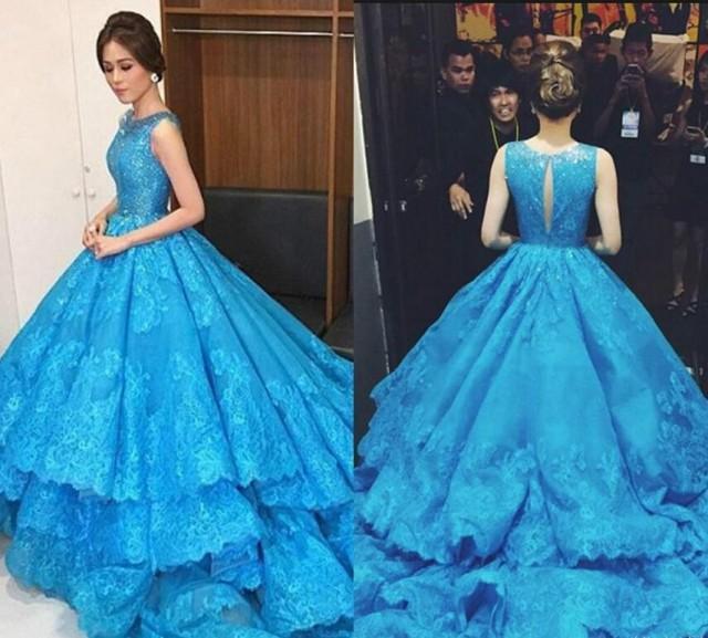 Luxury Michael Cinco Royal Blue Vintage Ball Gowns Wedding