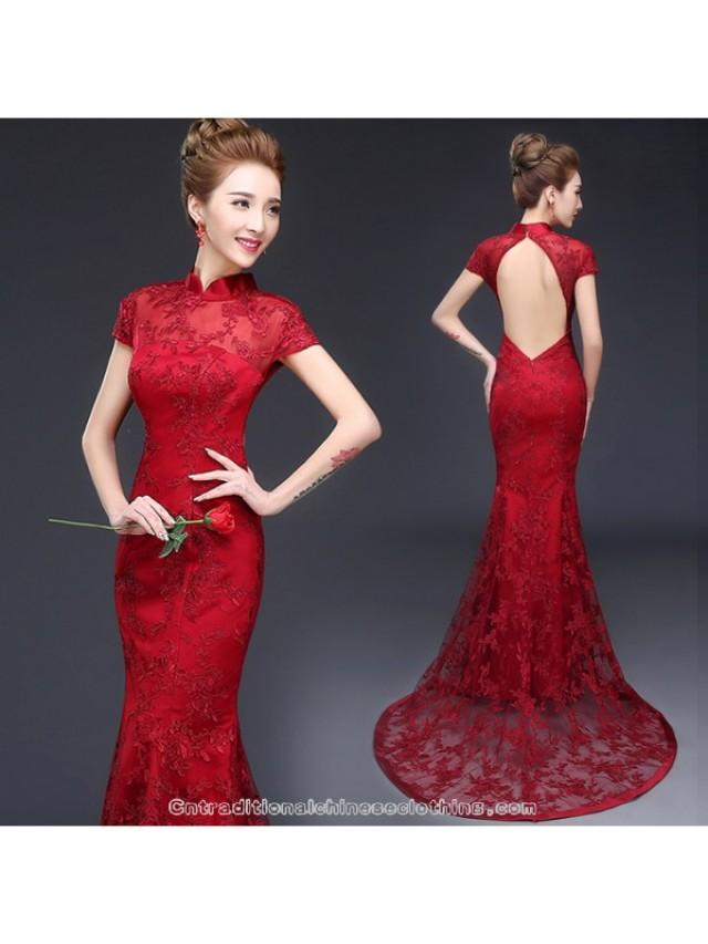 d5670aaf9c5 Burgundy red open back trailing prom dress mandarin collar Chinese bridal wedding  cheongsam