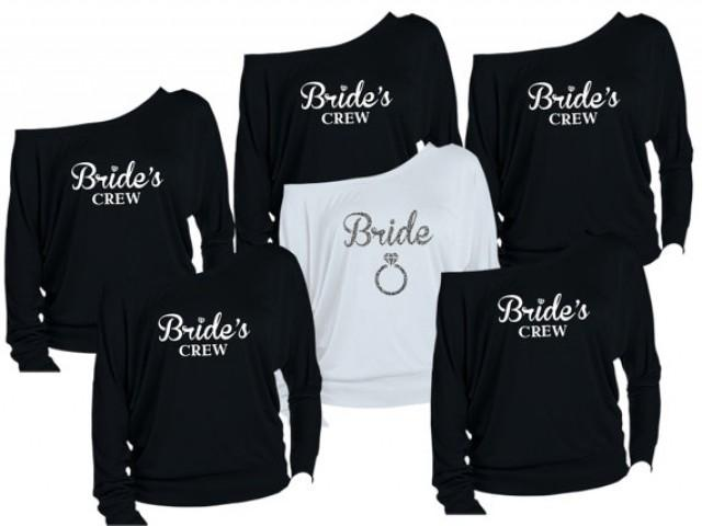 8 Personalized Bridesmaids Shirts Brides Maid Of Honor Bridal Entourage Bachelorette Party Off The Shoulder