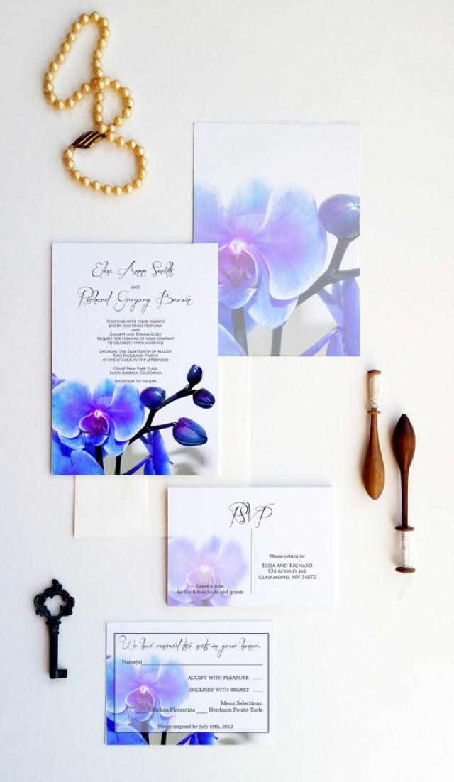 blue orchid wedding invitations dendrobium orchid wedding