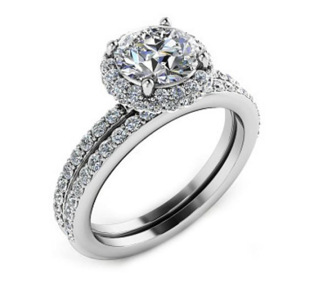Bridal Sets Diamond Engagement Ring Set Halo Diamond Engagement Ring Diamond Wedding Ring Set