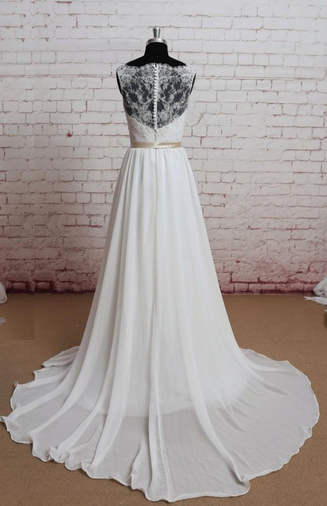 Sheer lace back wedding dress sexy wedding dress a line for A line ivory wedding dress