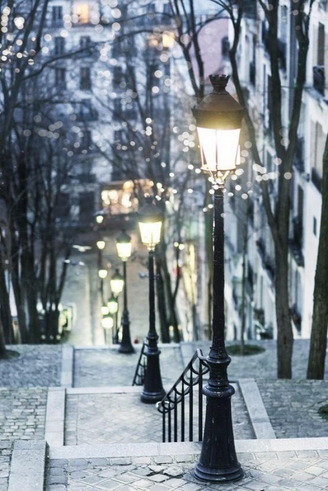 Paris Photograph Paris At Night Street Lamps Montmartre French Home Decor Large Wall Art