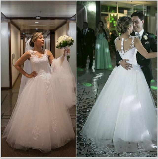 Real Picture Wedding Dresses Appliques 2015 Tulle Sheer Neck Sleeveless Zip Back Spring Chapel