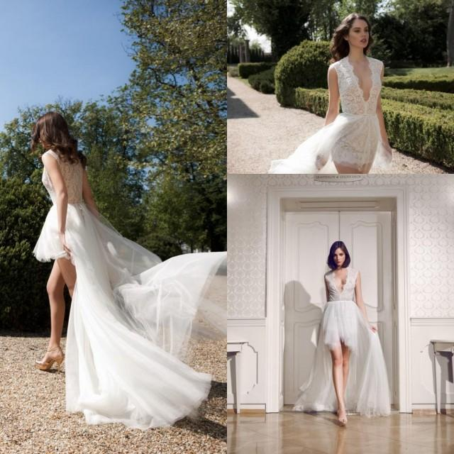 Fashion New Sexy Short 2015 Wedding Dresses Deep V Neck Lace Tulle Skirt Hi L