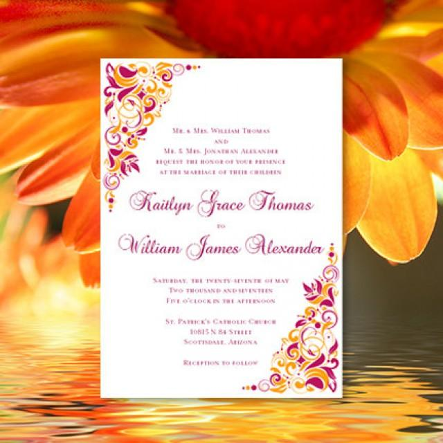 Printable Wedding Invitation Gianna Sangria And Orange Template Tropical Beach Or Hawaiian Theme All Colors Av Word Doc
