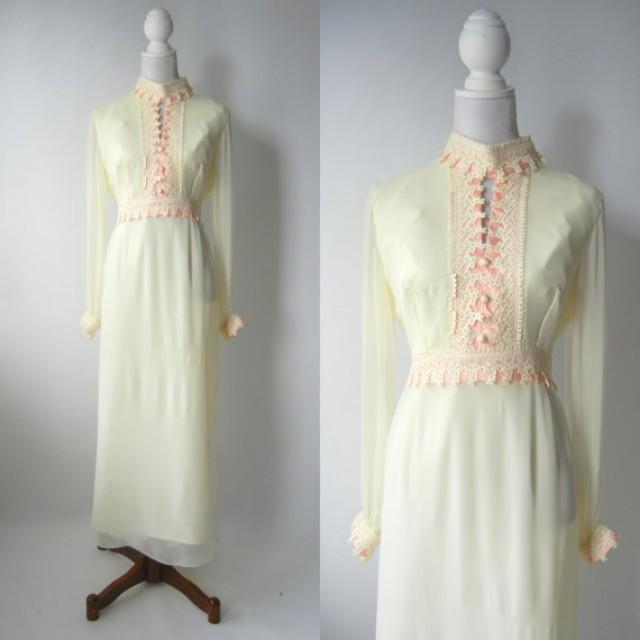 Vintage 1960s Dress, Retro 60s Maxi Dress, Off White Silk Maxi ...
