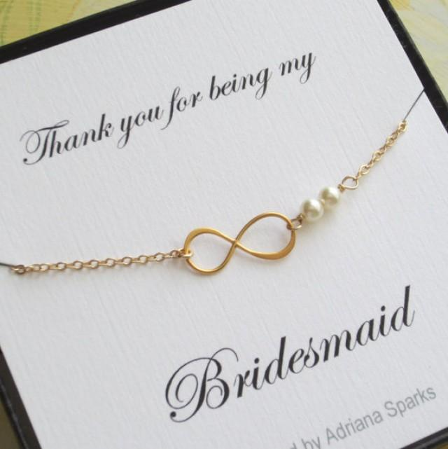 Infinity Gold Bracelet Bridesmaid Gift Thank You Card