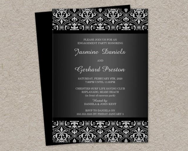 Elegant Damask Engagement Invitation Printable Damask