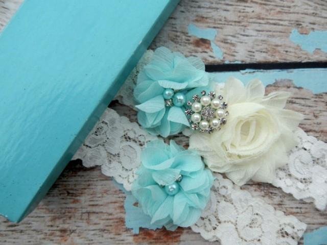 GARTER SET Aqua Blue Wedding Garter Set You Design Bridal Garter Set Vintage Garter