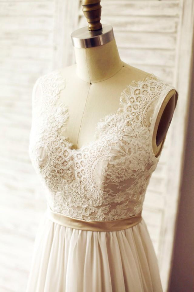 Ivory Lace Chiffon Wedding Dress Deep V Back Backless Bridal Gown Champagne Lining Open Back