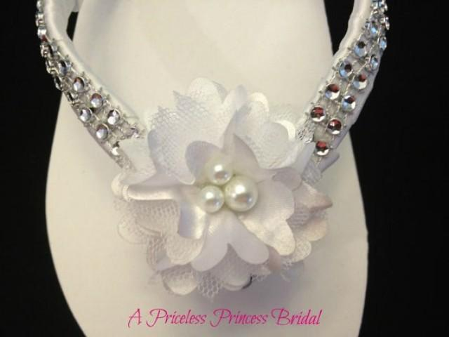 flip flops flowers pearls rhinestones beach wedding shoes 2299759