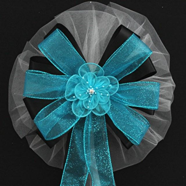 Turquoise Ribbon Flower Sparkle Black Wedding Bows Pew Ceremony Church