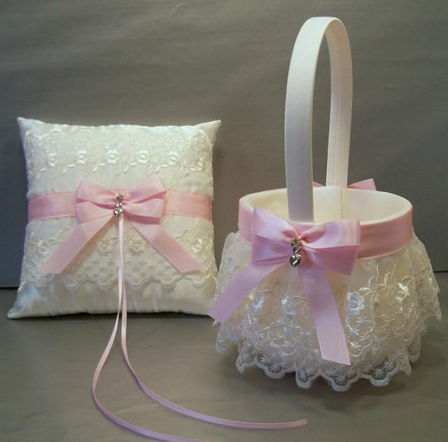 Flower Girl Basket Gray : Light pink wedding bridal flower girl basket and ring