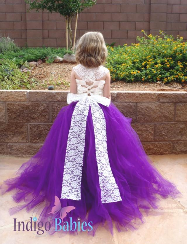 Flower girl dress weddings tutu dress plum purple tutu for Purple and ivory wedding dress