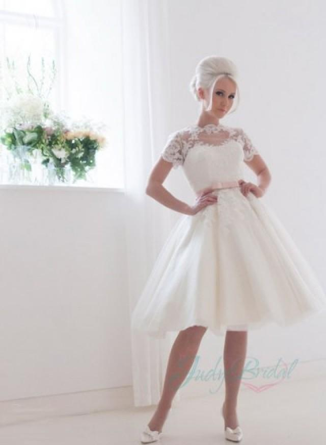 JW16032 Lovely Illusion Lace Top Short Sleeves Tea Length