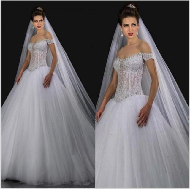 Sexy See Through 2015 Ball Gown Wedding Dresses With Beaded Off Shoulder Cap Sleeve Crystal