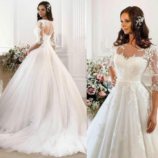 Vintage wedding dresses 2015 cheap illusion applique for Vintage ball gown wedding dresses