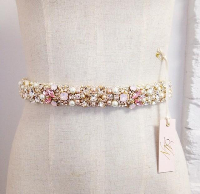 Blush Crystal Bridal Belt Custom Swarovski Crystal