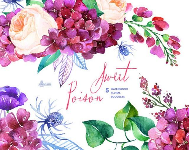Sweet Poison 5 Watercolor Bouquets Hydrangea Roses Poppy Wedding Invitation Floral Greeting Card Diy Clip Art Purple Flowers
