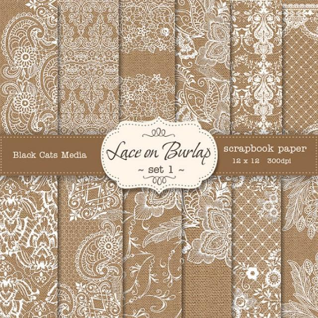 Burlap And Lace Digital Paper Wedding Invitation Background Decorations
