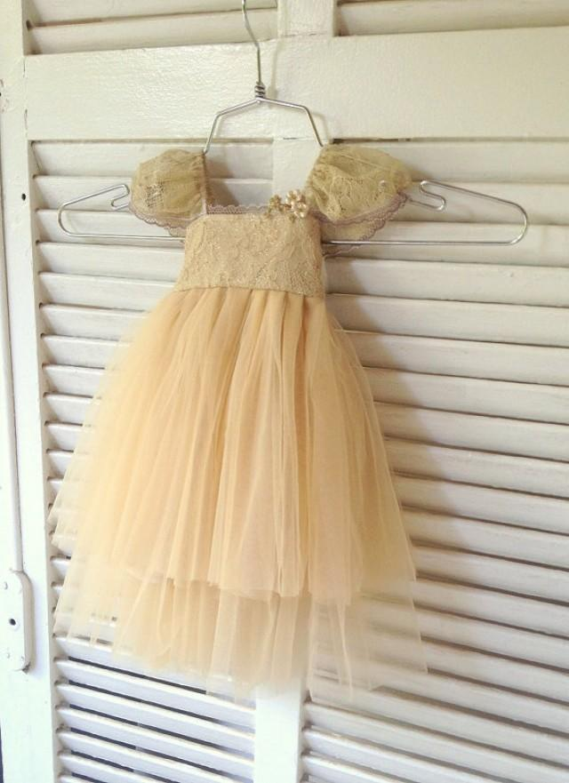 Gold Flower Girl Dress French Lace And Silk Tulle Dress