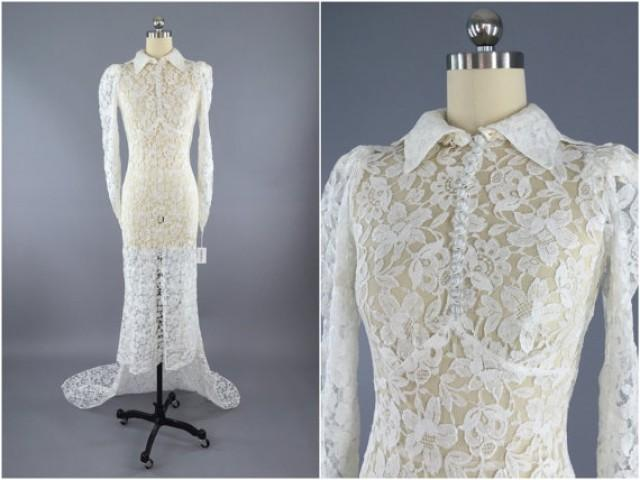 Vintage 1930s Wedding Dress, Bias Cut 30s Ivory Lace Gown