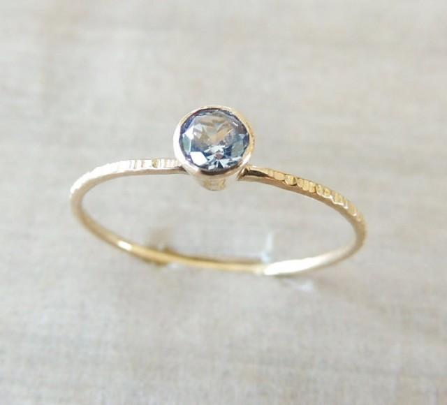 Aquamarine Ring 14k Gold Ring Yellow Gold Ring Aquamarine Jewelry Natural