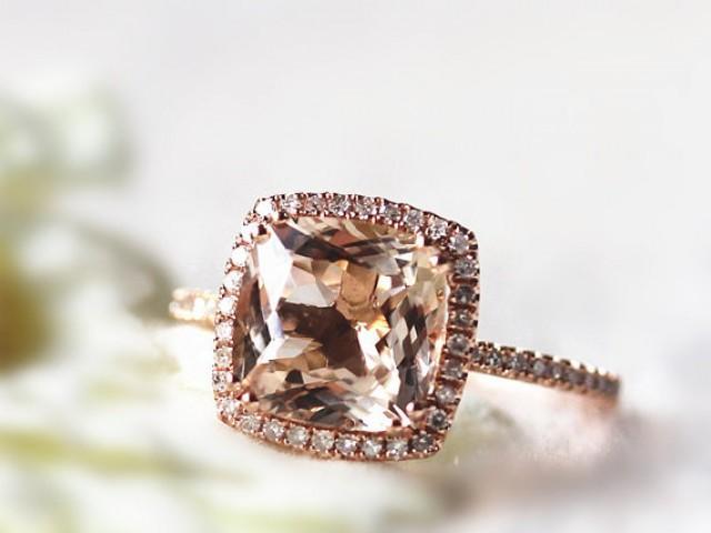 14K Rose Gold 9X9mm Cushion Cut Morganite Ring Diamond Halo Ring Engagement R