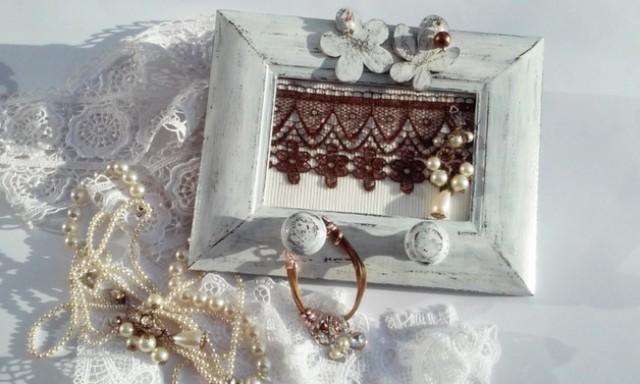 wedding photo - Jewelry Organizer/ Frame Jewelry Holder/ Wood Fram