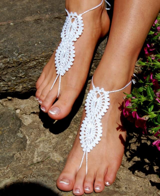 wedding photo - Barefoot sandals, Crochet Barefoot Sandals, Beach Shoes, Wedding Accessories, Nude Shoes, Yoga socks, Foot Jewelry
