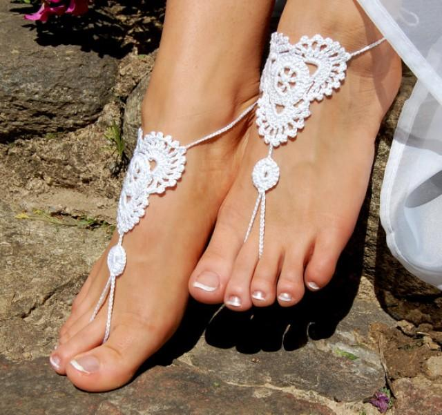 wedding photo - Crochet Barefoot Sandals, Beach Shoes, Wedding Accessories, Nude Shoes, Foot Jewelry, Anklet